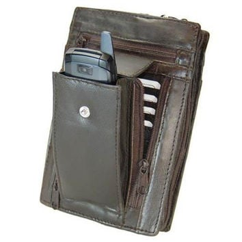 Large Genuine Leather Men Women Travel Wallet with Wrist Strap 107 (C)