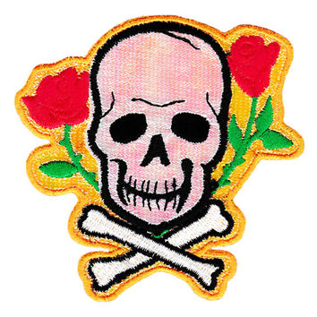 Cool Skull Crossbones & Roses Patch 9cm Applique