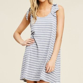 Grey Shoulder Tie Striped Dress