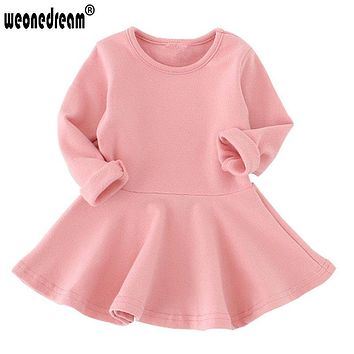 WEONEDREAM 2018 Baby Girl Dress Candy Color Long Sleeve Cotton Clothes Autumn Winter Toddler O-neck Ruffles Princess Dress