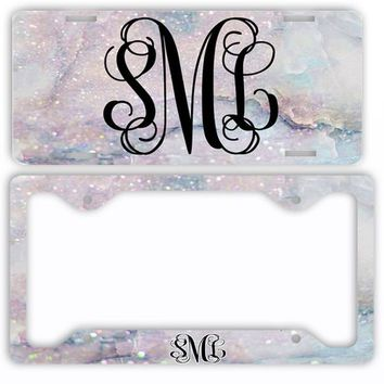 White Marble Look License Plate Car Tag Monogram Frame Personalized Set Custom Initials Car Coasters Faux Rainbow Glitter Sparkle