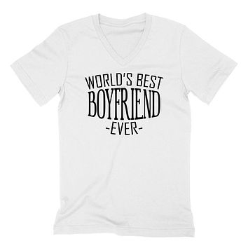 World's best boyfriend ever   birthday christmas holiday gift ideas  for him  V Neck T Shirt