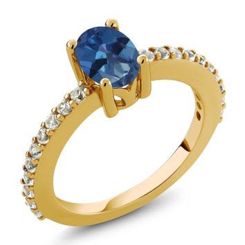 Blue Mystic Topaz and White Created Sapphire 18K Yellow Gold Plated Silver Ring