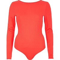 Red ribbed low back bodysuit