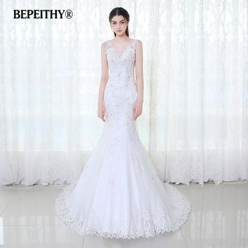 BEPEITHY V neck Mermaid Wedding Dress Low Back 2017 Vestido De Novia Beaded Lace Vintage Bridal Dresses Casamento