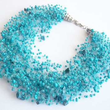 FREE SHIPPING. Turquoise multistrand Bead crochet Necklace with natural stone