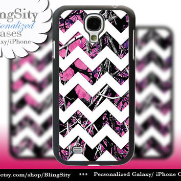 Camo Chevron Samsung Galaxy S4 S5 case Hot Pink Purple Galaxy S3 Case / Note 2 3 Case real tree Monogram Personalized  Country Girl