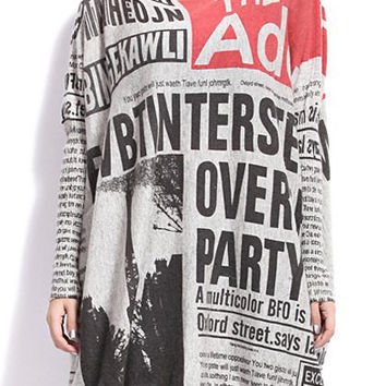 Newspaper Printed Long Sleeves Sweater