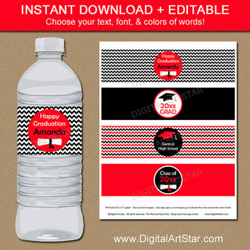 Red & Black Chevron Graduation Water Labels with Diplomas - Printable Graduation Party Decorations - EDITABLE Water Bottle Wrappers Template