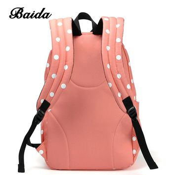 Best Sweet Polka Dots Backpack High Quality Pink Cute Backpacks Rugzak Stipjes School Bookbags For Teens Girls