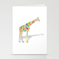 Technicolor Giraffe Stationery Cards | Print Shop