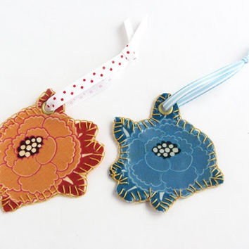 Flower bookmark orange blue, Fabric embroidery bookmark