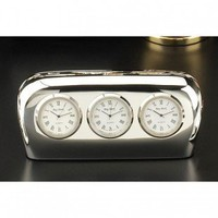 Bey-Berk Salzburg Three Time Zone Clock in Silver - CM777