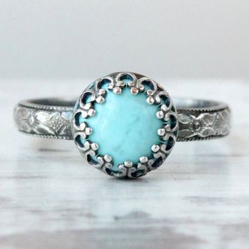 Turquoise ring sterling silver floral band crown setting light blue 8 mm Arizona turquoise December birthstone vintage style handmade ring