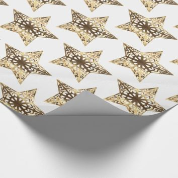 Gold and White Stars Pattern Elegant Christmas Wrapping Paper