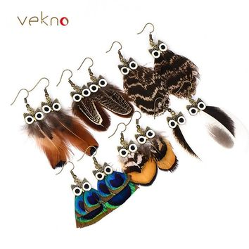 VEKNO Cute Owl Peacock Feather Earrings for Women Girl Vintage Handmade Animal Drop Earrings Bohemian Party Jewelry