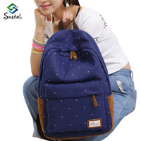 women Canvas Bag Brand Genuine Quality Floral Leather Backpack School for Teenager Girl Laptop Bag Printing Backpack
