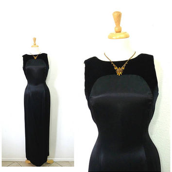 Black Velvet Silk Rayon Maxi dress / Panel Open Back Cocktail Evening gown Small