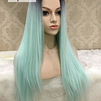 K'ryssma Cheap Glueless Ombre Full Machine Made Wig Long Straight Synthetic Hair Black Roots Ombre Mint Green Middle Part None Lace Cosplay Wigs For Black Women Christmas Heat Resistant 22 Inch