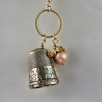 Thimble and Acorn Kisses Necklace Peter Pan and Wendy In Vermeil