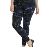 Blackheart Blue Galaxy Print Super Skinny Jeans Plus Size