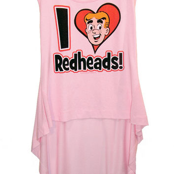 Archie I Love Redheads Pink HI-LOW Hem Top