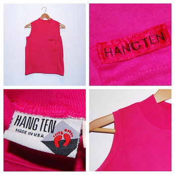 "Vintage Hot Pink ""Hang Ten"" Mock Turtleneck Tank Top"