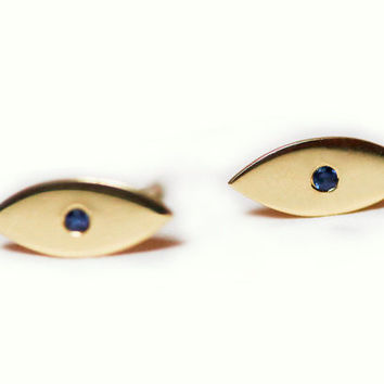 14k Gold Studs, Evil Eye Earrings, Tiny Sapphire Earrings, 14k Gold Studs, Evil Eye Studs