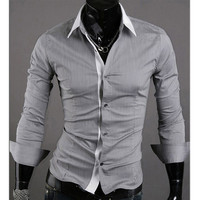 Slim Fit Men Fashion Dress Shirt