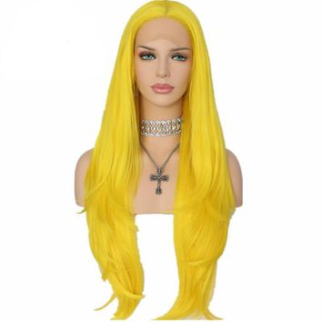Tania- Yellow Heat Resistant Hair 150% Denstity Synthetic Lace Front Wig