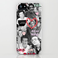 Harry Styles Black and White Collage iPhone & iPod Case by Amara V