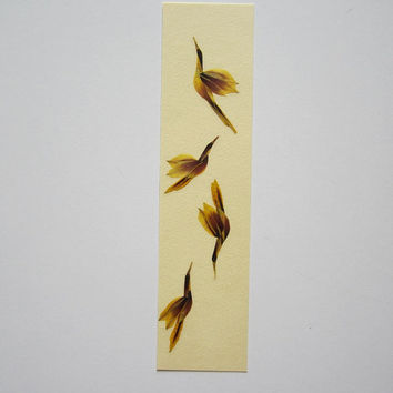 "Handmade unique bookmark ""Dance choreography"" - Decorated with dried pressed flowers and herbs - Original art collage."