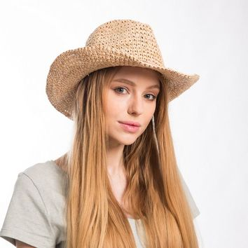 Muchique  Cowboy Hat for Women Fine Raffia Straw Crochet Summer Sun Protect Hats witn Tassles