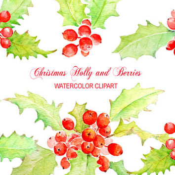 Watercolour Christmas Holly and Berry instant download scrapbook watercolor cards wedding invitations clipart