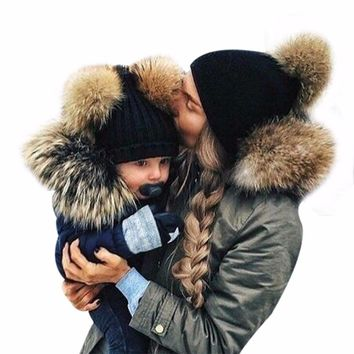 Lovely Mom&Newborn Baby Boy Girls Double Fur Pompon 2017 Winter Warm Knitted Caps Bobble Beanie Hat Parenting Fleece Crochet Cap