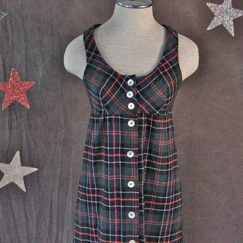 Vintage Maxi Dress 1970's Back to School Plaid Black, Red, Green, Blue, White Wool Label Oops-size XS