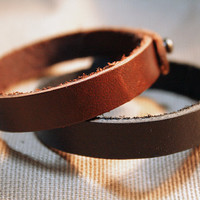 Couple Bracelet Leather Custom Bracelet His and by SimpleFraction