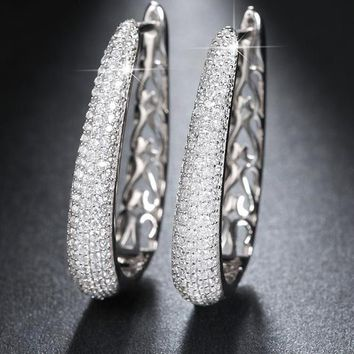 Platinum Plated Hoop Earrings Paved with AAA Austrian Cubic Zirconia