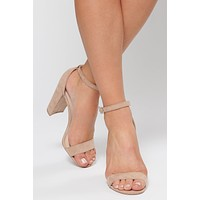 Must Confess Faux Suede Heels (Warm Taupe)