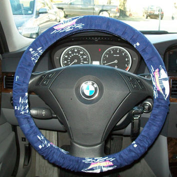 Sail Boats on Navy Steering Wheel Cover