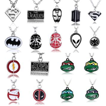 """Super hero Teenage Mutant Ninja Turtles Agents of Shield S.H.I.E.L.D superman deadpool Pendant With 18"""" Silver Plated Necklace"""