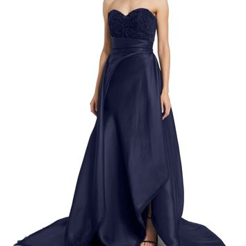 Sweetheart-Neck Ball Gown, Navy