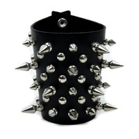 """4"""" Spike and Stud Metal Wristband / Armband by Dysfunctional Doll"""