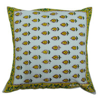 "16"" Inch Gorgeous Indian Block Printed Euro Pillow Sham"