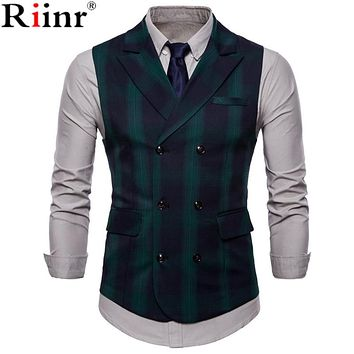 Men Vest Red Plaid Vest Single Breasted V-neck Collar Casual Style Slim Fit Wedding Party Wear Vest Men