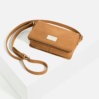 METALLIC DETAIL LEATHER CROSS-BODY BAG