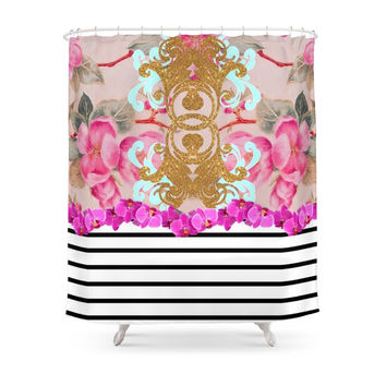Society6 Fashion Girly Pink Vintage Floral Trendy Stripes Pattern Shower Curtains