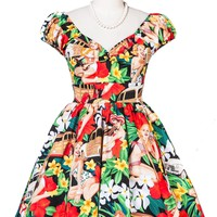 Short Bold Vintage Beach Girl Dress | ReoRia