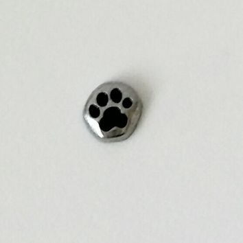 Silver Paw Print Floating Charm