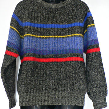 1980's / 1990's Crewneck Sweater - Wool Blend - Dark Gray w/ Bright Red, Blue, & Yellow Stripes - Size Medium
